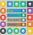 Layers icon sign Set of twenty colored flat round vector image