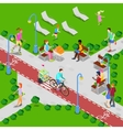 Isometric City Park Active People vector image