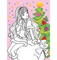 Coloring Book Of Beautiful Girl Sitting On Bag vector image
