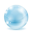 Glass sphere blue transparent glass ball vector image