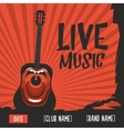 Live music poster with a screaming guitar Vintage vector image