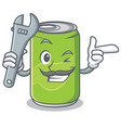 mechanic soft drink character cartoon vector image