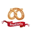 Oktoberfest poster with Pretzels on white vector image