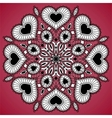 Ornamental round lace pattern from hearts vector image