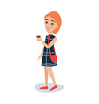 pretty red haired girl in a blue dress standing vector image