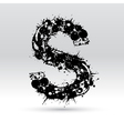 Letter S formed by inkblots vector image vector image