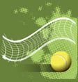 Tennis ball and grid on a green background vector image