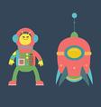 Cute alien and rocket vector image