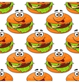 Cartoon cheeseburger seamless pattern vector image
