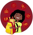 Latina girl going to school vector image