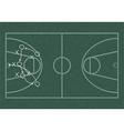 Realistic blackboard drawing outline of basketball vector image