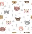 tribal seamless pattern with cartoon bears vector image