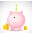 Coin falling into Piggy Bank vector image vector image
