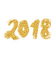 2018 new year golden lettering with bright vector image