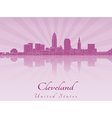 Cleveland skyline in purple radiant orchid vector image