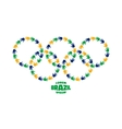 circles with hand prints using Brazil flag colors vector image