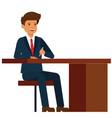 businessman sitting on office table cartoon fla vector image