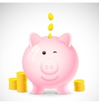 Coin falling into Piggy Bank vector image