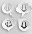 headphones in hands White flat buttons on gray vector image