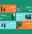 student everyday life process colourful web banner vector image