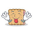 tongue out biscuit character cartoon style vector image
