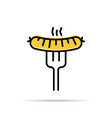 grilled sausage on the fork icon vector image