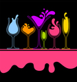 silhouette of splash wine glass vector image vector image