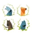Set of Cartoon Domestic Dogs with Laurel Wreath vector image vector image