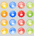 tea coffee icon sign Big set of 16 colorful modern vector image