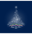 Christmas Tree of Lights on Dark Blue Background vector image