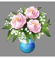 Elegant bouquet of pink peonies closeup vector image