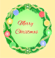 Merry Christmas advent wreath with garnishes vector image