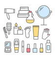 spa icons set line design vector image