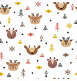 tribal seamless pattern with cartoon deers vector image