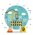under construction barricade cone road crane board vector image