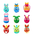 Easter Egg Shaped Easter Bunnies Colorful Girly vector image