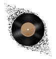 vinyl disc with music notes flying out on white vector image
