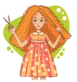 Cute cartoon red-haired girl cuts her hair with vector image