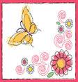 drawing of butterfly and flowers vector image