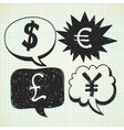 currency symbol doodles vector image