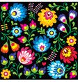 Floral Polish folk art pattern on black vector image