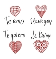 Declaration of love in in English French Spanish vector image