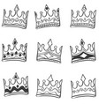 Doodle of crown hand draw set vector image