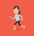 female running with smartphone vector image