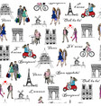 paris sightseeings and people vector image