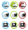 Set of colorful icons with black notebook vector image