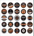 vintage labels black and orange set vector image