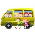 Children carpooling on the van vector image