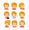 Young Red Head Girl Cute Portrait Icons vector image