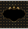 Golden Frame on Damask black Background vector image vector image